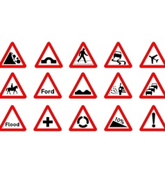 15 Triangle Traffic Signs vector image