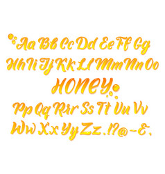 Liquid honeyed latin alphabet with gold splashes vector