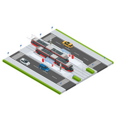 Modern tramway on the stop and cars on the road vector