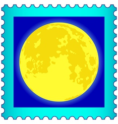 Moon on postage stamp vector