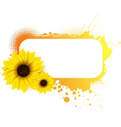 Sunflower grunge frame vector