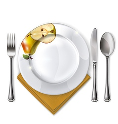 Plate with spoon knife and fork vector image