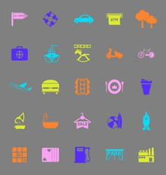Map place color icons on gray background vector