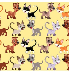 Funny cats and dogs with background vector