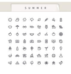 Summer and vacation stroke icons set vector