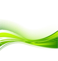 Green wave background on white vector