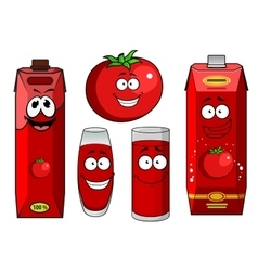 Natural tomato juice cartoon characters vector