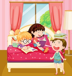 Children reading books in bedroom vector