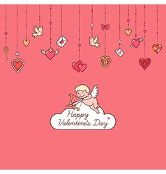 Valentine card cupid vector