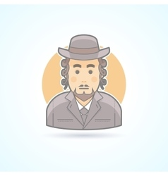 Native orthodox jewish man icon vector