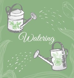 Ink hand drawn garden watering objects vector