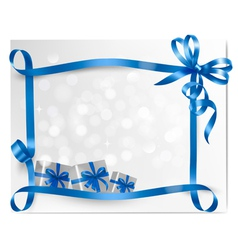 Holiday background with blue gift bow with gift vector