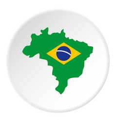 Brazil flag on brazilian map icon circle vector