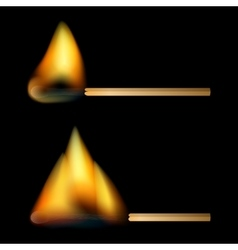 Burning matches on black background vector