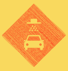 Car wash sign red scribble icon obtained vector
