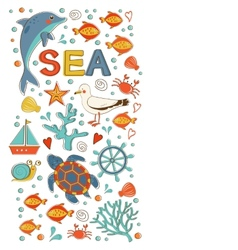 Cute colorful sea collection with various elements vector image vector image