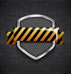 danger metal shield with black grille vector image vector image