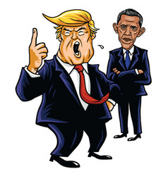 Donald trump and barack obama cartoon caricature vector
