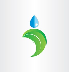 drop of water on leaf freshness eco symbol vector image vector image