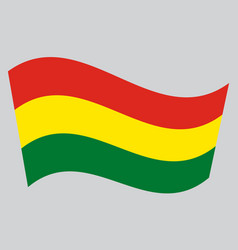 flag of bolivia waving on gray background vector image