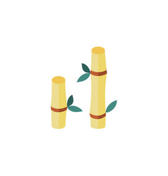Flat cartoon bamboo stem with leaves icon vector