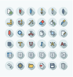 flat color thin line icons set and graphic vector image