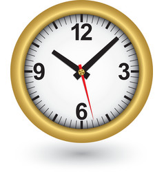 Gold clock icon vector image