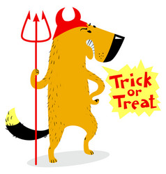 Halloween dog character in costume of devil with vector