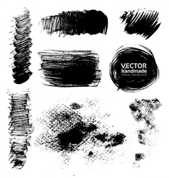 Hand-drawing textures of brush strokes vector