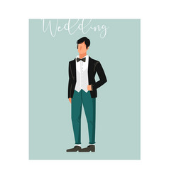 hand drawn abstract cartoon wedding groom vector image