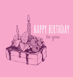 happy birthday cake with a candle in a cake vector image