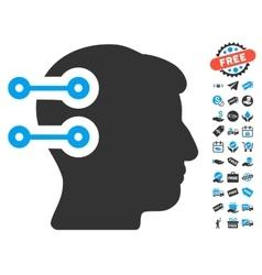 Head connectors icon with free bonus vector
