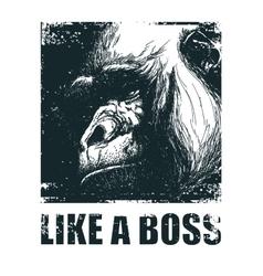 Monkey face with like a boss inscription vector
