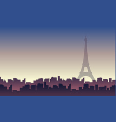 paris with building city scenery silhouettes vector image vector image