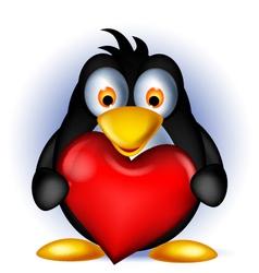 penguin cartoon holding heart love vector image vector image