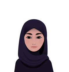 Portrait of muslim beautiful woman in hijab vector