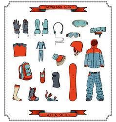 Snowboard equipment vector