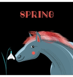 Spring card with a picture of horse vector image vector image