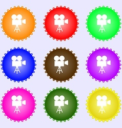 Video camera icon sign A set of nine different vector image