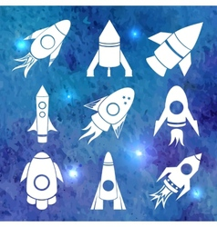 white rockets icons on watercolor background vector image