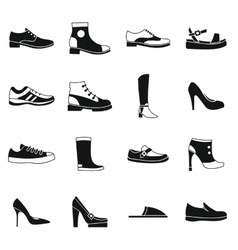 Shoe icons set in simple style vector image
