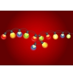 Multicolored garland lamp bulbs festive vector