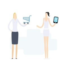 Young girl using a mobile shop vector
