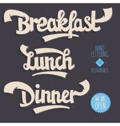 Breakfast Lunch Dinner Artistic Hand Drawn vector image