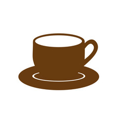 Brown dish porcelain with cup vector