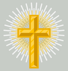 Golden crucifix icon isolated vector