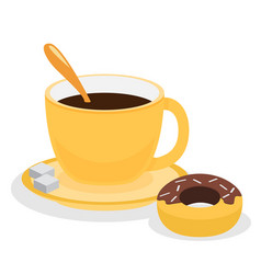 Donut with coffee flat vector