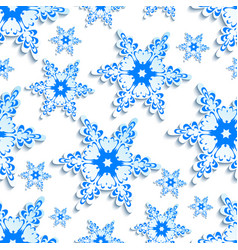Background seamless pattern stylized 3d snowflake vector