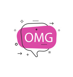 Outline speech bubble with omg phrase vector