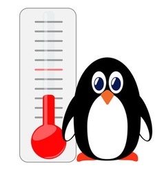 Penguin of thermometer vector